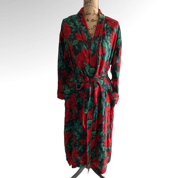 Victorias Secret Bath Robe Floral Terry Wrap Gold… - image 1