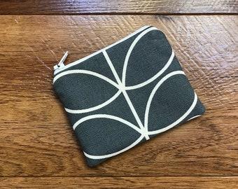 Mini Coin Purse (11x9cm) Handmade Using Orla Kiely Cool Grey Linear Stem Fabric