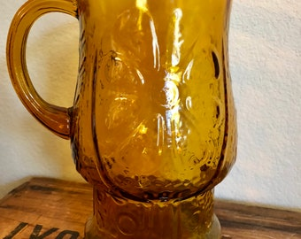 Vintage Libbey Country Garden Amber Pitcher