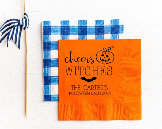 Halloween napkins, Cheers witches napkins, Halloween party decor, Halloween party napkins, Pumpkin napkins, Paper napkins, Beverage napkins
