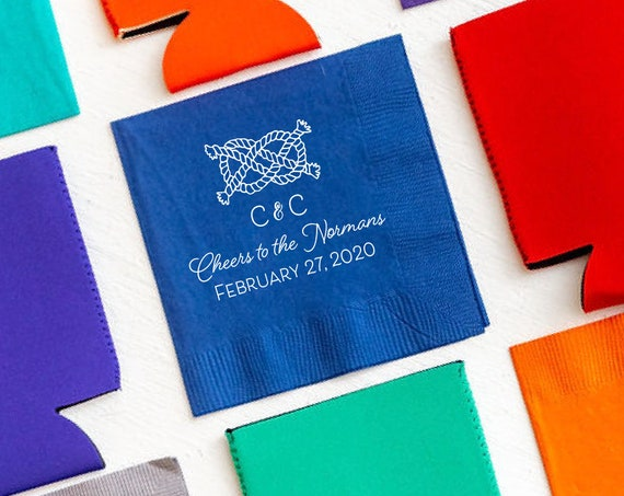 Nautical wedding napkins, Sailors knot napkins, Nautical napkins, Personalized wedding napkins, Wedding wedding decor, Nautical favor