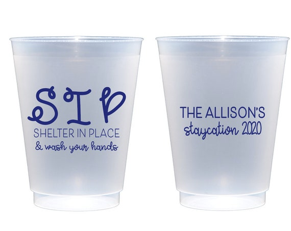 Shelter in place cups, Social distancing cups, Funny cups, Funny quarantine cups, Personalized plastic cups, Staycation 2020 cups
