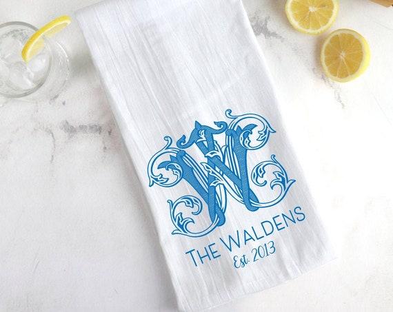 Wedding gift idea, Engagement gift idea, Monogrammed tea towel, Personalized tea towel, Monogrammed flour sac towel, Mothers Day gift idea