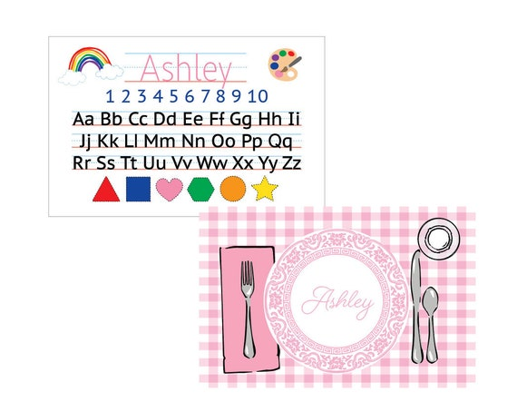 Kids placemat, Laminated placemat, Alphabet Placemat, Personalized placemat, Girl placemat, Customized Placemats for kids, Kids gift idea