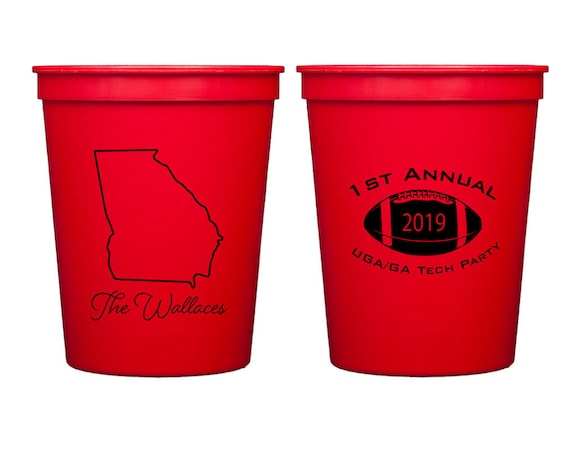 Tailgating cups, Tailgate party cups, Personalized plastic cups, Football party cups, Football season, Tailgate theme, State pride cups