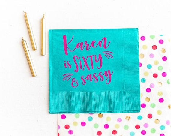 60 and sassy napkins, 60th birthday napkins, 60th birthday party decor, Adult birthday napkins, Personalized birthday napkins, Customizable