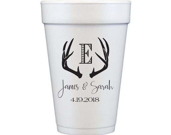 Antler cups, Rustic wedding favor, Personalized cups, Wedding cups, Reception cups, Custom foam cups, Engagement party cups, Antler artwork