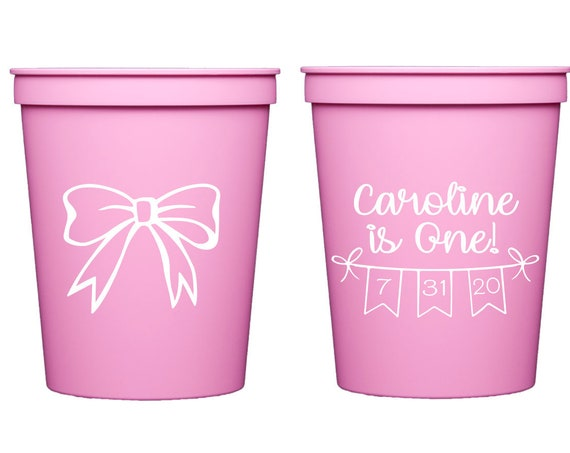 Bow birthday cups, Girls birthday decor, First birthday favor, First birthday cups, Bow theme, Pink party decor, Pink party favor