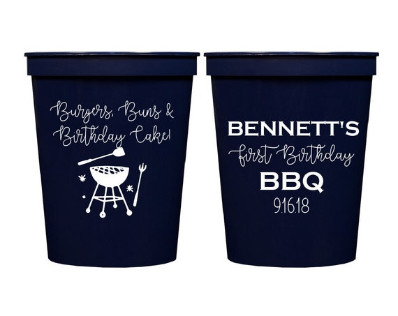 BBQ birthday cups, Burger Buns & Birthday Cake, First birthday party, Personalized cups, BBQ party cups, Cookout party cups, Custom cups