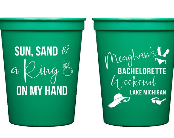 Lake bachelorette weekend, Bachelorette party cups, Personalized plastic cups, Sun sand and a ring on my hand, Lake weekend cups, Custom cup