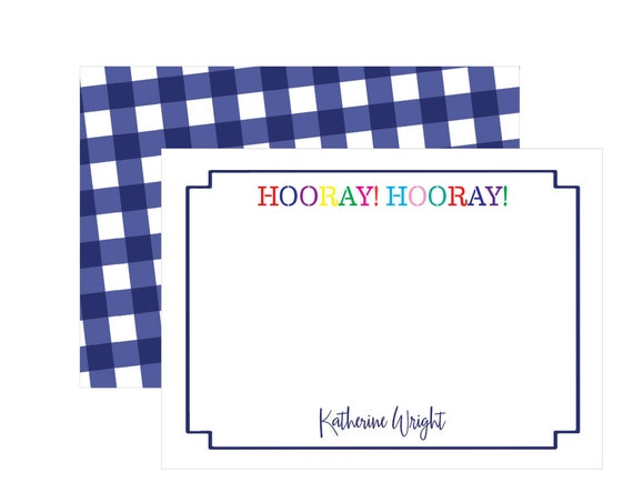 Kids stationery, Kids notecards, Personalized notecards, Personalized stationery, Colorful stationery, Gingham stationery, Hooray Hooray