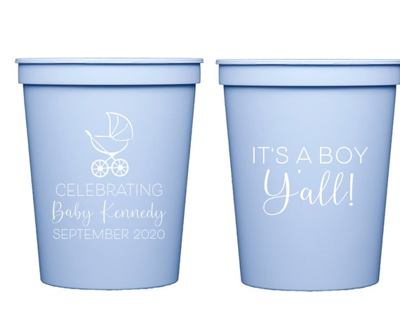 Baby boy shower cups, It's a boy y'all, Boy shower favor, Personalized shower cups, Baby shower favor, Personalized plastic cups, party cups
