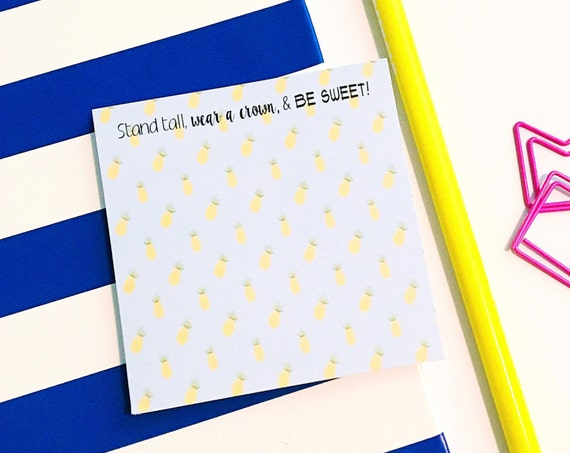 Pineapple Sticky note, post it note, to do list, pineapple paper, cute notepad, pineapple gift, pineapple office supplies, pineapple decor