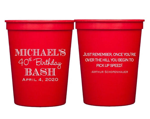 personalized birthday cups, 40th birthday cups, Guys birthday cup, Male birthday favor, Adult birthday favor, personalized plastic cups