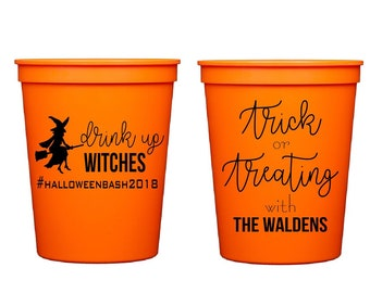 Halloween cups, Halloween party cups, Halloween party decor, Halloween favors, Trick or treating, Drink up witches, Personalized cups