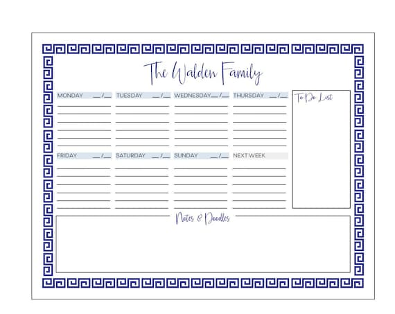 Weekly notepad, Personalized notepad, Family notepad, Family todo list, Weekly planner, Week at a glance notepad, Family to do list notepad
