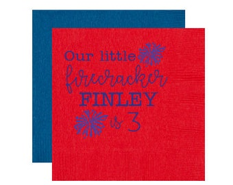 4th of July birthday, Fourth of July birthday party napkins, Our little firecracker napkins, July 4th birthday napkins, Firecracker napkins