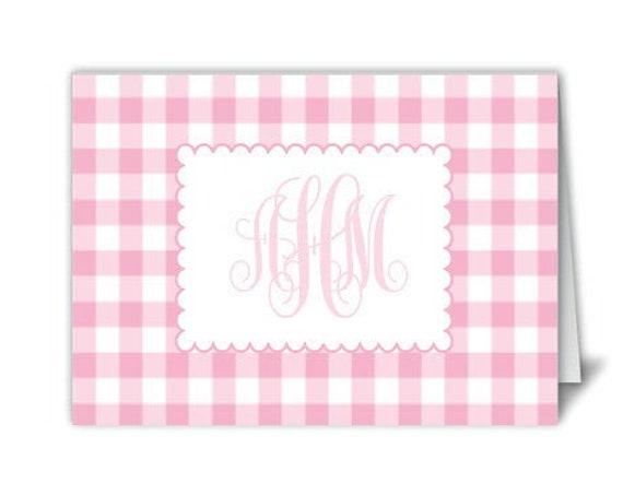 Monogram stationery, Gingham stationery, Pink gingham notecards, Personalized stationery, Monogram notecard, folded notecard, Monogram grift