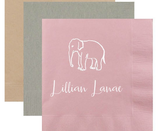 Baby shower napkins, monogrammed napkins personalized napkins, safari baby shower, kids birthday party napkins, personalized cocktail napkin
