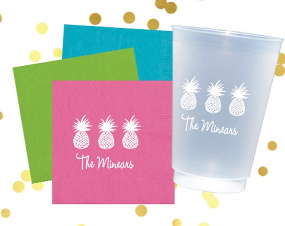 pineapple cups, personalized plastic cups, shatterproof cups, monogrammed napkins, pool party cups, bar cart napkins
