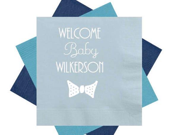 Bow tie napkins, baby shower napkins, baby boy shower napkins, personalized napkins, custom napkins, personalized cocktail napkins