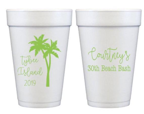Beach birthday party cups, Foam birthday cups, 30th birthday party cups, Beach themed party cups, Personalized styrofoam birthday cups