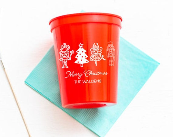 Christmas cups, Christmas party cups, Personalized plastic cups, Nutcracker party cups, Holiday party favor, Merry Christmas cups