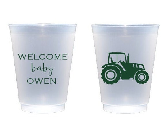 Tractor shower cups, Tractor themed shower, Baby boy shower cups, Farm themed baby shower, Baby shower cups, Personalized plastic cups