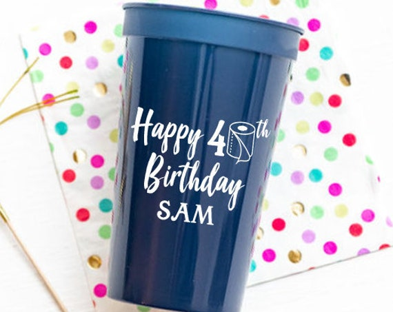 40th birthday cups, Social distancing birthday, Personalized birthday cups, Quarantine birthday cups, Toilet paper theme,Adult birthday cups