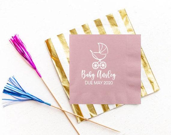 Baby shower napkins, Personalized napkins, Personalized shower napkins, Baby shower favor, Baby shower decor, Baby stroller theme shower