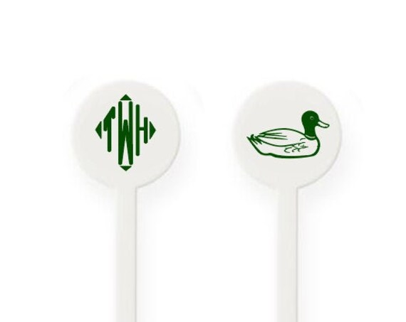 Monogrammed stirrers, Personalized stirrers, Plastic drink stirrer, Fathers day gift idea, Mallard duck, Duck hunter gift idea