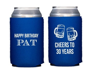 Cheers to 30 years can cooler, Personalized can coolers, Birthday can cooler, Birthday hugger, 30th birthday can cooler, Beer can cooler