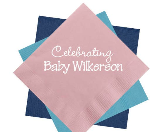 baby shower napkins, baby boy napkins, baby girl napkins, footprint art, personalized napkins, custom napkins, personalized cocktail napkins