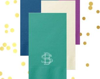 Two letter interlocking monogram, personalized guest towels, vintage monogram guest towels, hostess gift, custom napkins