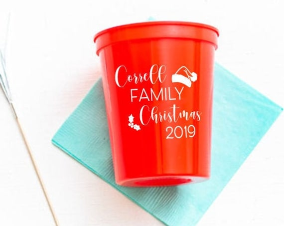 Family Christmas cups, Personalized Christmas cups, Christmas party cups, Personalized plastic cups, Holiday party cups, Santa hat cups