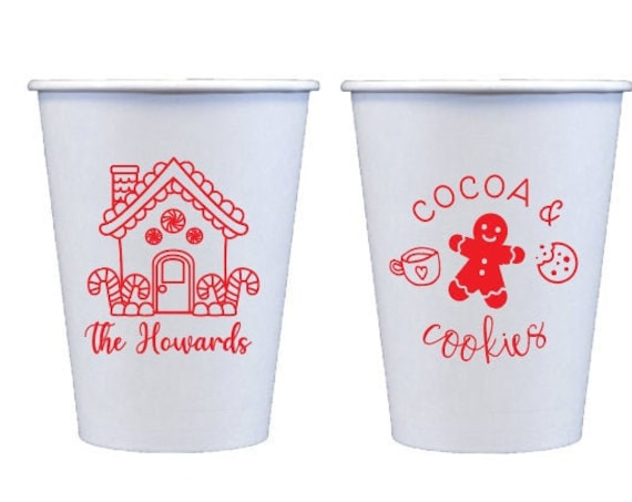 Gingerbread house cups, Hot chocolate cups, Hot chocolate bar, Cocoa and cookies, Cookie party, Gingerbread theme, Christmas party cups