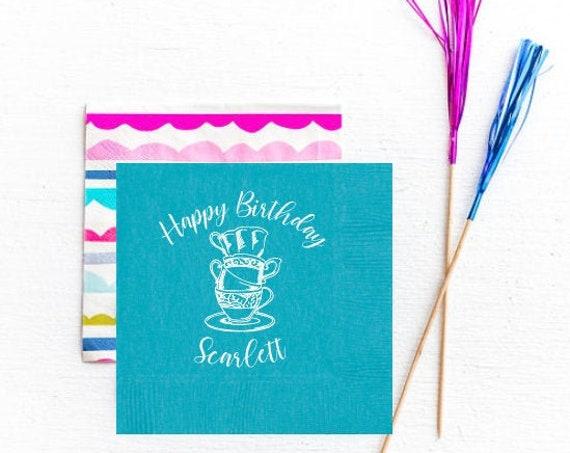 Tea party birthday napkins, Tea party decor, Birthday par tea, Personalized napkins, Girls birthday party, Tea party favor, Tea cup napkins
