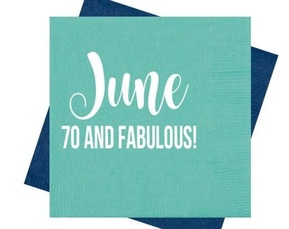 70th birthday napkins, 70 and fabulous, Birthday party napkins, Adult birthday party favor, Birthday party decor, Birthday party favor