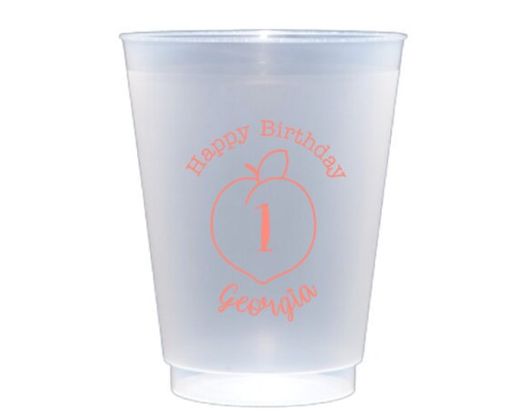Peach birthday cups, Peach first birthday decor, Peach first birthday favor, Peach party cups, Personalized plastic cups, Frosted cups