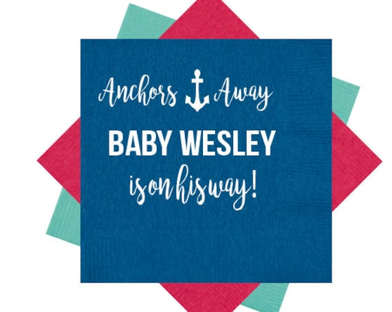 baby shower napkin, anchors away, nautical baby shower, baby boy napkin, baby girl napkins, personalized napkin, personalized napkin