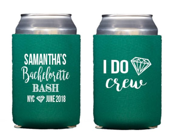 bachelorette can cooler, bachelorette bash, bachelorette party favor, bachelorette weekend, i do crew can cooler, bachelorette huggie