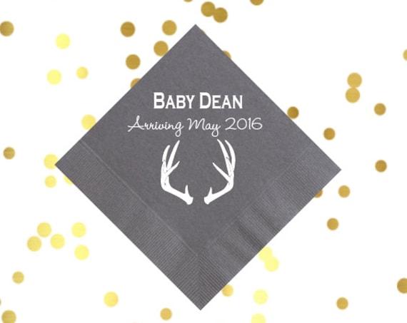 antler napkins, baby shower napkins, rustic napkins, personalized napkins, custom napkins, personalized cocktail napkins