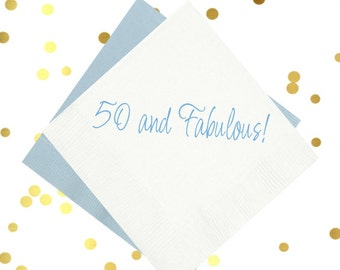 50 and fabulous birthday napkins, party napkins, gold foil napkins, birthday party decor, party supplies, over the hill birthday