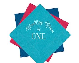 First birthday napkins, Babys first birthday party napkins, One year old birthday party, Personalized birthday napkins, Kids birthday napkin