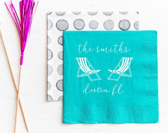 Beach house napkins, Housewarming napkins, Housewarming gift idea, Vacation home gift idea, Lake house napkins, Personalized paper napkins