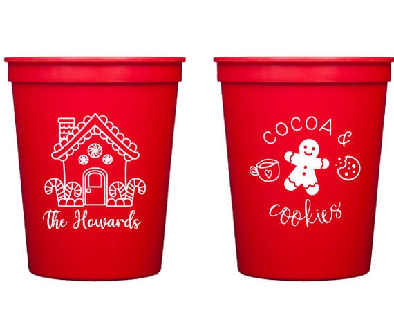 Gingerbread house cups, Cookie party cups, Christmas cups, Christmas party cups, Personalized Christmas cups, Coca and cookies