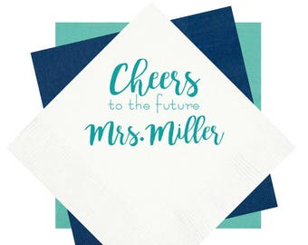 Cheers to the mrs, personalized cocktail napkins, wedding shower napkins, wedding napkins, monogrammed napkins, bridal shower napkins