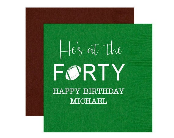 40th birthday napkins, Football themed 40th birthday, He's at the forty, Over the hill birthday, Adult birthday party napkins, Tailgate