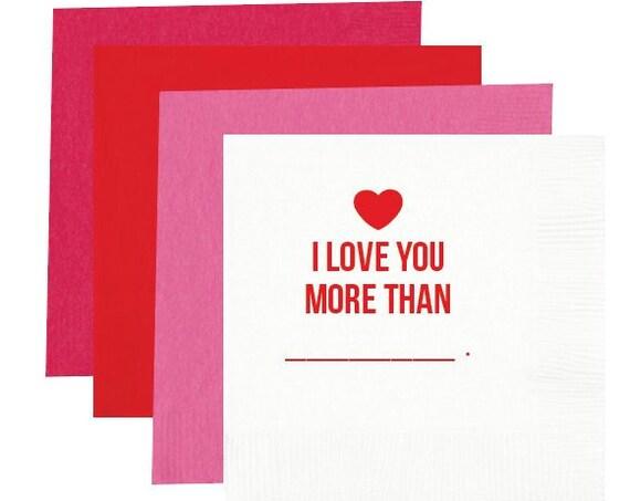 I love you napkins, valentines napkins, valentines party napkins, valentines day napkins, valentines treat, personalized napkins