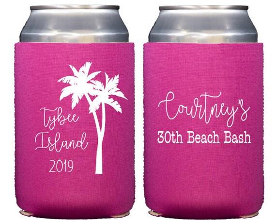 Beach birthday cozie, Beach birthday can cooler, Personalized birthday can cooler, Birthday hugger, 20th Birthday cozie, Palm tree can cozie